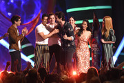 """(L-R) Alberto Rosende, Harry Shum Jr., Dominic Sherwood, Matthew Daddario, Anna Hopkins, Emeraude Toubia, and Katherine McNamara accept the accept the Choice Sci-Fi/Fantasy Show award for """"Shadowhunters: The Mortal Instruments"""" onstage during FOX's Teen Choice Awards at The Forum on August 12, 2018 in Inglewood, California."""