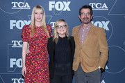(L-R) Riki Lindhome, Amy Poehler, and Ty Burrell attend the FOX Winter TCA All Star Party at The Langham Huntington, Pasadena on January 07, 2020 in Pasadena, California.