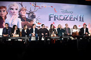 (L-R) Songwriters Robert Lopez, Kristen Anderson-Lopez, actors Evan Rachel Wood, Jonathan Groff, Josh Gad, Idina Menzel, Kristen Bell, Director Chris Buck, Director/writer/Walt Disney Animation Studios CCO Jennifer Lee and Producer Peter Del Vecho as seen at the FROZEN 2 Global Press Conference at W Hollywood on November 09, 2019 in Hollywood, California.