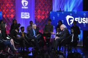 (L-R) Journalists Rembert Browne, Alicia Menendez, Akilah Hughes, Jorge Ramos and democratic presidential candidate Bernie Sanders pictured onstage during the FUSION presents the Brown & Black Democratic Forum at Drake University on January 11, 2016 in Des Moines, Iowa.
