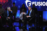 Journalist Jorge Ramos and democratic presidential candidate Martin O'Malley (R) pictured onstage during the FUSION presents the Brown & Black Democratic Forum at Drake University on January 11, 2016 in Des Moines, Iowa.
