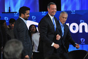 Journalists Rembert Browne and Jorge Ramos with democratic presidential candidate Martin O'Malley (C) pictured onstage during the FUSION presents the Brown & Black Democratic Forum at Drake University on January 11, 2016 in Des Moines, Iowa.