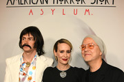 "(L-R) Evan Peters, Sarah Paulson, and Ryan Murphy attend FX's ""American Horror Story"" 100th Episode Celebration at Hollywood Forever on October 26, 2019 in Hollywood, California."