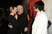 "(L-R) Sarah Paulson, Ryan Murphy, and Evan Peters attend FX's ""American Horror Story"" 100th Episode Celebration at Hollywood Forever on October 26, 2019 in Hollywood, California."