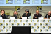 (L-R) Actors Kim Coates, Mark Boone Junior, Tommy Flanagan, Theo Rossi and Dayton Callie attend FX's 'Sons of Anarchy' panel during Comic-Con International 2014 at San Diego Convention Center on July 27, 2014 in San Diego, California.