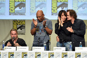 (L-R) Creator/executive producer Kurt Sutter, executive producer/director Paris Barclay and actors Katey Sagal and Kim Coates attend FX's 'Sons of Anarchy' panel during Comic-Con International 2014 at San Diego Convention Center on July 27, 2014 in San Diego, California.