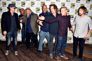 (L-R) Actor Tommy Flanagan, executive producer/director Paris Barclay, actors Mark Boone Junior, David Labrava, Kim Coates, Theo Rossi and Niko Nicotera attend FX's 'Sons of Anarchy' Press Line during Comic-Con International 2014 at San Diego Convention Center on July 27, 2014 in San Diego, California.