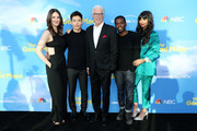 """(L-R) D'Arcy Carden, Manny Jacinto, Ted Danson, William Jackson Harper, and Jameela Jamil attend the FYC event for NBC's """"The Good Place"""" at Saban Media Center on June 07, 2019 in North Hollywood, California."""