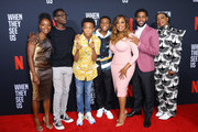 (L-R) Actors Marsha Stephanie Blake, Ethan Herisse, Asante Blackk, Caleel Harris, Niecy Nash, Jharrel Jerome and Aunjanue Ellis  attend FYC Event For Netflix's 'When They See Us' at Paramount Theater on the Paramount Studios lot on August 11, 2019 in Hollywood, California.