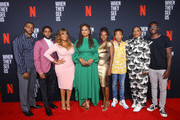 (L-R) Composer Kris Bowers, actors Jharell Jerome, Niecy Nash, filmmaker Ava DuVernay, Marsha Stephanie Blake, Asante Blackk, Aunjanue Ellis and Ethan Herisse attend FYC Event For Netflix's 'When They See Us' at Paramount Theater on the Paramount Studios lot on August 11, 2019 in Hollywood, California.