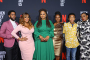 (L-R) Actors Jharell Jerome, Niecy Nash, filmmaker Ava DuVernay, Marsha Stephanie Blake, Asante Blackk and Aunjanue Ellis attend FYC Event For Netflix's 'When They See Us' at Paramount Theater on the Paramount Studios lot on August 11, 2019 in Hollywood, California.