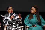 Actress Aunjanue Ellis (L) and filmmaker Ava DuVernay seen onstage during FYC Event For Netflix's 'When They See Us' panel at Paramount Theater on the Paramount Studios lot on August 11, 2019 in Hollywood, California.