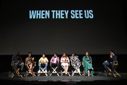 (L-R) Composer Kris Bowers, actors Marsha Stephanie Blake, Asante Blackk, Jharell Jerome, Niecy Nash, Aunjanue Ellis, filmmaker Ava DuVernay and J.J. Abrams seen onstage during FYC Event For Netflix's 'When They See Us' panel at Paramount Theater on the Paramount Studios lot on August 11, 2019 in Hollywood, California.