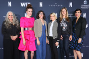 Marta Kauffman, Liz Flahive, Carly Mensch, Liz Feldman, Sophie Lanfear and Stacey Wilson Hunt attend FYC Netflix Event Rebels And Rule Breakers at Netflix FYSEE at Raleigh Studios on June 02, 2019 in Los Angeles, California.