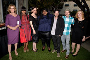 """(L-R) Actors Jessica Lange, Angela Bassett, Sarah Paulson, Gabourey Sidebe, composer James S. Levine, actors Denis O'Hare and Frances Conroy pose at a screening and conversation with Fox's """"American Horror Story: Coven"""" at Twientieth Century Fox Studios on June 6, 2014 in Los Angeles, California."""