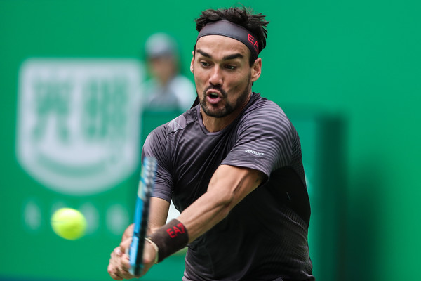2019 Rolex Shanghai Masters - Day 7 [tennis,racquet sport,sports,sports training,racketlon,competition event,player,championship,racket,tennis player,men,fabio fognini,daniil medvedev,action,italy,russia,shanghai,rolex,shanghai masters,match]