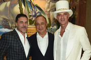 (L-R) President and CEO of Andre Balazs Properties Andre Balazs, Business/Art Collector Len Blavatnik, and Hotelier and Real Estate Developer Alan Faena attend the Feana Hotel Miami Beach Opening Celebration at Faena Hotel on December 1, 2015 in Miami Beach, Florida.