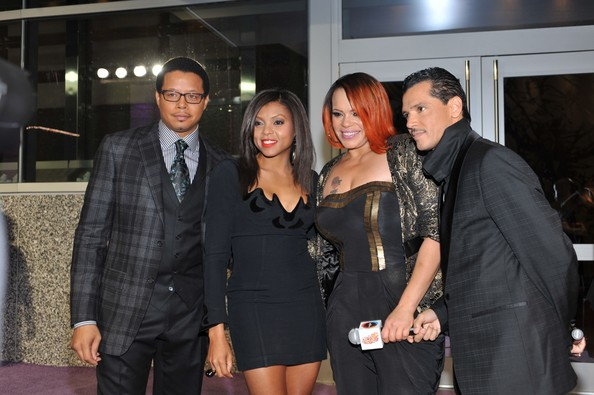 Faith Evans (L-R) Actor Terrence Howard, actress Taraji Henson,
