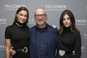 (L-R) Irina Shayk, Sandro Veronesi and Julia Restoin Roitfeld attend as Falconeri launches in the US with store opening at 101 Prince Street on October 16, 2019 in New York City.