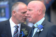 Inverness Caledonian Thistle's manager John Hughes and Falkirk's manager Peter Houston during the William Hill Scottish Cup Final match between Falkirk and Inverness Caledonian Thistle at Hampden Park, on May 30, 2015 in Glasgow, Scotland.