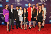 """(L-R) Catherine Borek, Scott Hamilton Kennedy, Gusean Song, Grace Song, Jin Hee Song, Brittany Hayes, Cheryl Hayes, Tom Hayes, Leilani Makuaskane Potter, and Verena Hayes attend the """"Fame High"""" Premiere during the 2012 Tribeca Film Festival at the Chelsea Clearview Cinemas on April 21, 2012 in New York City."""
