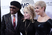 Nile Rodgers, Dolly Parton and Nancy Hunt attend We Are Family Foundation honors Dolly Parton & Jean Paul Gaultier at Hammerstein Ballroom on November 05, 2019 in New York City.