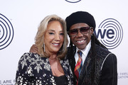 Denise Rich and Nile Rodgers attend We Are Family Foundation honors Dolly Parton & Jean Paul Gaultier at Hammerstein Ballroom on November 05, 2019 in New York City.