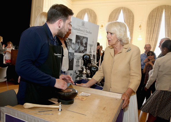 Camilla, Duchess of Cornwall meets stallholders at the Fashion Festival in the Assembly Rooms on July 22, 2014 in Edinburgh, Scotland.