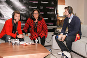 Lance Bass, Fern Mallis and fencer Tim Morehouse attend Fashion's Night Out at Saks Fifth Avenue on September 6, 2012 in New York City.