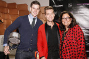 (L-R) Fencer Tim Morehouse, Lance Bass and Fern Mallis attend Fashion's Night Out at Saks Fifth Avenue on September 6, 2012 in New York City.