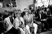 Image has been converted to black and white.)   (L to R) Evangelo Bousis, Sheikha Aisha Al Thani and Peter Dundas attends the Fashion for Relief event during the 70th annual Cannes Film Festival at Aeroport Cannes Mandelieu on May 21, 2017 in Cannes, France.