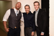 """(L-R) Dwayne """"The Rock"""" Johnson, Ari Emanuel and Patrick Whitesell appear backstage during 'The Next Intersection For Hollywood with William Morris Endeavor's Ari Emanuel, Patrick Whitesell and Dwayne """"The Rock"""" Johnson' at the Fast Company Innovation Festival on November 9, 2015 in New York City."""