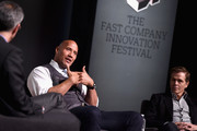 """(L-R) Robert Safian, Dwayne """"The Rock"""" Johnson and Patrick Whitesell speak onstage during 'The Next Intersection For Hollywood with William Morris Endeavor's Ari Emanuel, Patrick Whitesell and Dwayne """"The Rock"""" Johnson' at the Fast Company Innovation Festival on November 9, 2015 in New York City."""