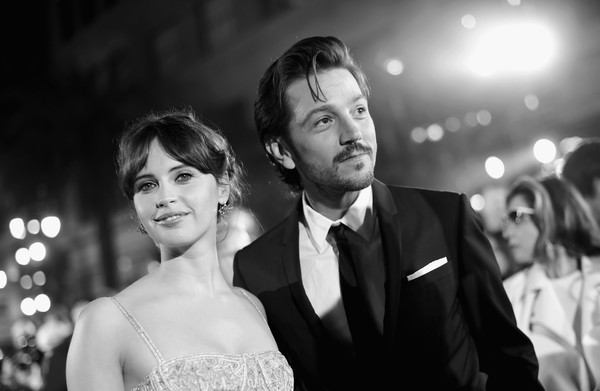 The World Premiere of 'Rogue One: A Star Wars Story' [rogue one: a star wars story,image,photograph,black,man,woman,facial expression,ceremony,formal wear,beauty,wedding,bride,felicity jones,diego luna,color version,pantages theatre,l,lucasfilm,world premiere,the world premiere]