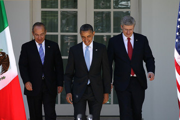 Felipe Calderon Obama Holds Joint Press Conf. With Mexican And Canadian Leaders At White House