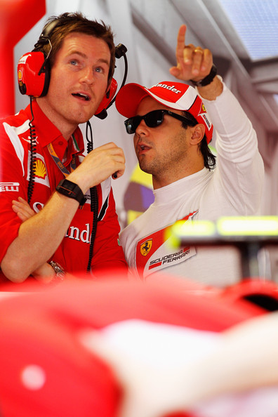 Felipe Massa Felipe Massa (R) of Brazil and Ferrari talks with his race engineer Rob Smedley (L) as he prepares to drive during the final practice session prior to qualifying for the Italian Formula One Grand Prix at the Autodromo Nazionale di Monza on September 10, 2011 in Monza, Italy.
