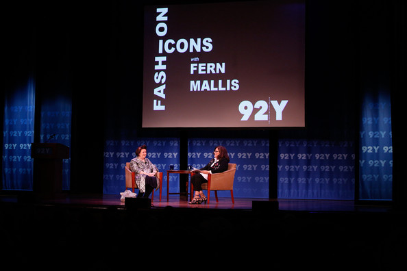 Fashion Icons Event in NYC [fashion icons,stage,text,sky,performance,event,design,display device,font,performing arts,heater,suzy menkes,fern mallis,l-r,new york city,92nd street y]