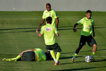 Fernadinho Brazil Training Session and Press Conference - 2014 FIFA World Cup