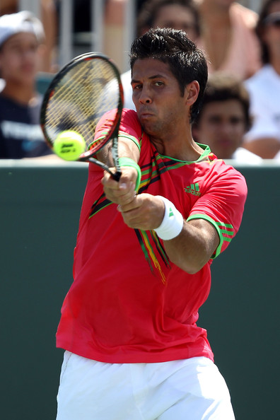 Fernando Verdasco Fernando Verdasco of Spain returns against Pablo Andujar of Spain during the Sony Ericsson Open at Crandon Park Tennis Center on March 25, 2011 in Key Biscayne, Florida.