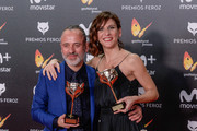 Javier Gutierrez and Malena Alterio receives the Best actor and actrees Award during Feroz Awards 2018 at Magarinos Complex on January 22, 2018 in Madrid, Spain.