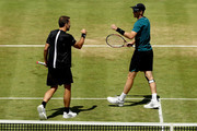 Bruno Soares of Brazil and Jamie Murray of Great Britain celebrate a point during their men's doubles match against Marcus Daniell of New Zealand and Wesley Koolhof of Netherlands during Day Four of the Fever-Tree Championships at Queens Club on June 21, 2018 in London, United Kingdom.