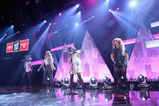 (L-R) Normani Kordei Hamilton, Dinah Jane Hansen, Camila Cabello, and Ally Brooke Hernandez of Fifth Harmony performs on the Honda Stage at iHeartRadio Theater on February 5, 2015 in Burbank, California.