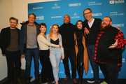"Actors Jack Lowden, Vince Vaughn, Lena Headey, Florence Pugh, Dwayne Johnson, Paige, executive producer Stephen Merchant, and actor Nick Frost pose for a photo at the special Sundance screening of ""Fighting with My Family"" on January 28, 2019 in Park City, Utah."