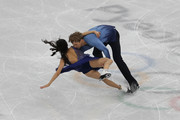 Madison Chock and Evan Bates of the United States fall while competing in the Figure Skating Ice Dance Free Dance on day eleven of the PyeongChang 2018 Winter Olympic Games at Gangneung Ice Arena on February 20, 2018 in Gangneung, South Korea.
