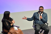 (L-R) Jasmine Jaisinghani and Anurag Kashyap speak onstage at Anurag Kashyap In Conversation during Film Independent's The New Wave at Ahmanson Screening Room on October 20, 2019 in Los Angeles, California.