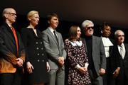 (L-R) John Waters, Tilda Swinton, Paul Dano, Zoe Kazan, Pedro Almodovar, Dee Rees, and Martin Scorsese attend the Film Society Of Lincoln Center's 50th Anniversary Gala at Lincoln Center on April 29, 2019 in New York City.