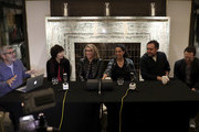 Moderator Jason Solomons with directors Kim Longinotto, Lauren Greenfield, Rubika Shah, Rodney Ascher and David Lawrence speak during the Filmmakers Afternoon Tea at the 63rd BFI London Film Festival at The May Fair Hotel on October 07, 2019 in London, England.