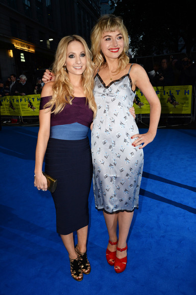 (L-R) Imogen Poots and Joanne Froggatt attend the London premiere of 'Filth' at The Odeon Leicester Square on September 30, 2013 in London, England.