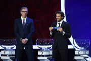 Draw assistant, Diego Forlan draws D1 during the Final Draw for the 2018 FIFA World Cup Russia at the State Kremlin Palace on December 1, 2017 in Moscow, Russia.