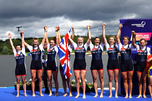 Rowing - European Championships Glasgow 2018: Day Three [sports,team,recreation,technology,competition,championship,sports uniform,cheering,uniform,electronic device,silver,great britain,strathclyde country park,glasgow,scotland,team,womens eight,european championships glasgow,rowing - european championships,rowing]